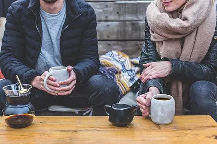 Adults drinking coffee